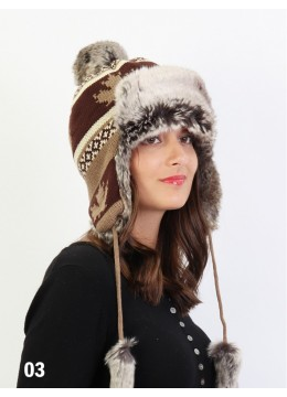 Warm Fur Maple Leaf Knitted Hat W/ Ear Flaps & Fur Tassels /Brown
