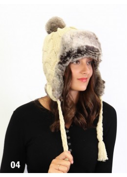 Warm Fur Cable Knitted Hat W/ Ear Flaps & Cable Tassels /Beige