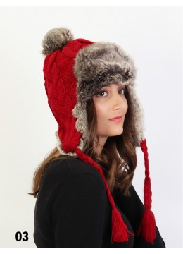 Warm Fur Cable Knitted Hat W/ Ear Flaps & Cable Tassels /Burgundy