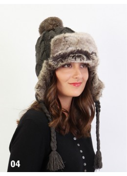 Warm Fur Cable Knitted Hat W/ Ear Flaps & Cable Tassels /Dark Grey