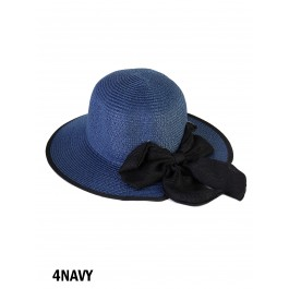 Wide Brim V-Back Summer Hat W/ Ribbon Bow