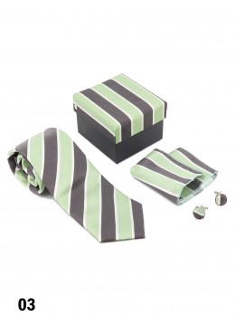 Classic Men's Stripe Tie Set / Green