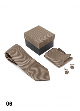 Classic Striped Solid Men's Tie Set/Brown