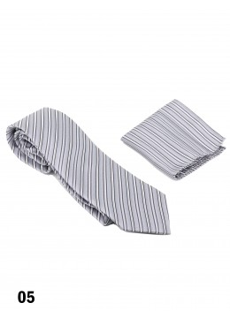 Classic Men's Light Grey Woven Strip Tie Set
