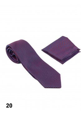 Classic Men's Purple Check Tie Set