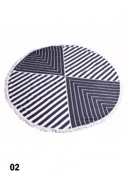 Black And White Abstract Round Beach Towel