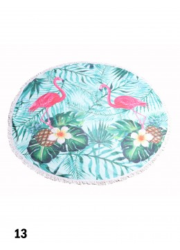 Flamingo With Leaves Round Beach Towel