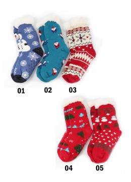 Indoor Anti-Skid Slipper Socks W/ Snow Pattern