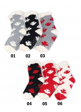 Indoor Anti-Skid Slipper Socks W/ Maple Leaf Pattern