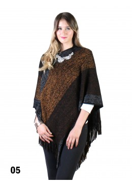 Multi Stripe Poncho With Fringe