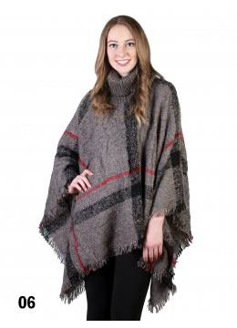 Plaid Poncho With Cowl Neck
