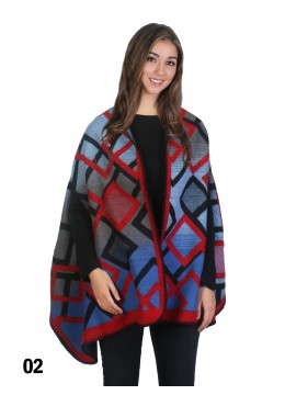 Multi Color Squares Print Cape