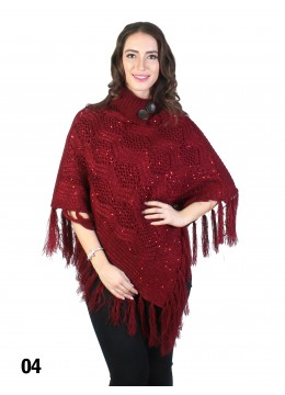 Sequin Knit Poncho W/ Buttons