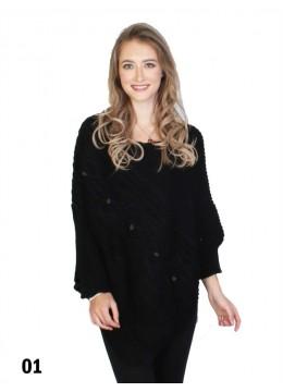 Asymmetrical Poncho W/Sleeves /Black