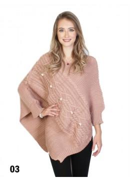 Asymmetrical Poncho W/Sleeves /Pink