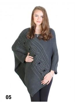 Asymmetrical Poncho W/Sleeves /Grey