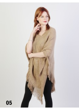 Solid Subtle Panels Poncho W/ Fringes /Taupe