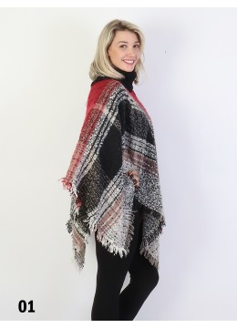 Loose Neck Poncho W/ Strips and Plaid /Beige