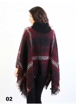 Loose Neck Poncho W/ Strips and Plaid /Black