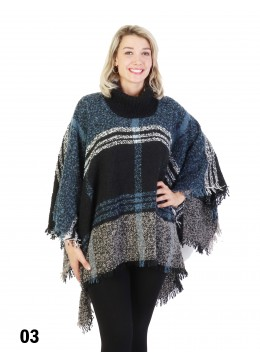 Loose Neck Poncho W/ Strips and Plaid /Blue