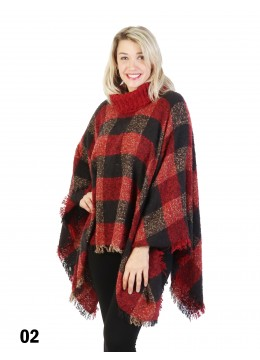 Loose Neck Poncho W/Plaid /Red