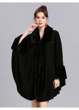 Soft Plush Cape W/ Faux Fur Collar and Sleeves