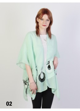 Peacock Feather Embroidery Kimono /Green