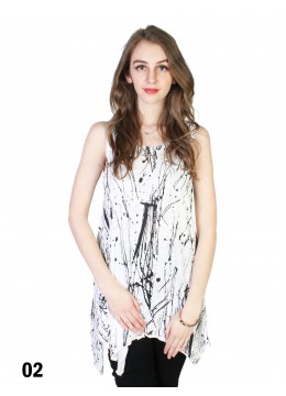 Splash-Ink Print Fashion Tops /White