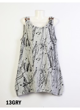 Splash-Ink Print Fashion Tops /Grey