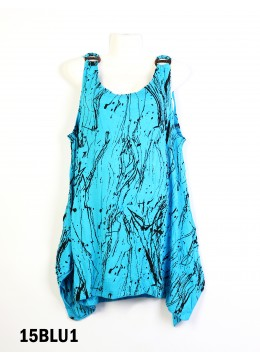 Splash-Ink Print Fashion Tops /Blue1