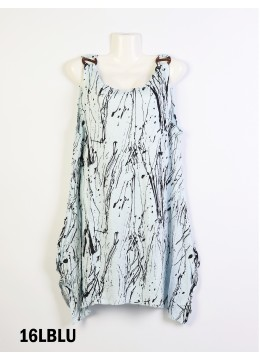 Splash-Ink Print Fashion Tops /Light Blue