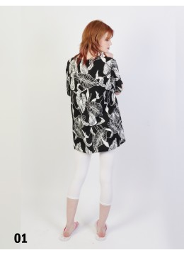 Leaves Printed Short Sleeves Top /Black