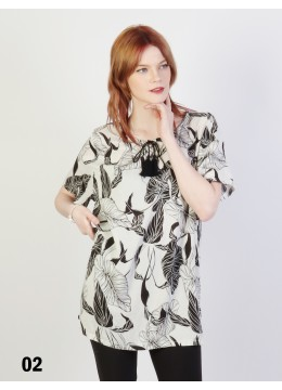 Leaves Printed Short Sleeves Top /White
