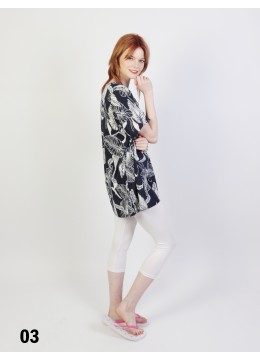 Leaves Printed Short Sleeves Top /Blue