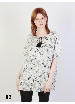 Paisley Printed Short Sleeves Top /White