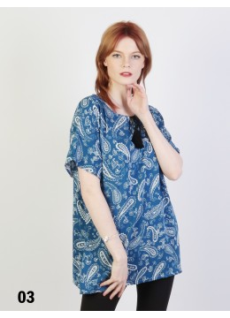 Paisley Printed Short Sleeves Top /Blue