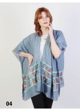 Abstract Embroidery Kimono /Blue