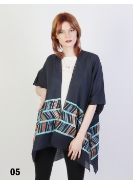 Abstract Embroidery Kimono /Navy