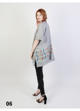 Abstract Embroidery Kimono /Grey