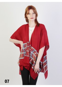 Abstract Embroidery Kimono /Burgundy