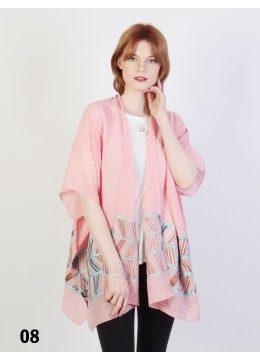 Abstract Embroidery Kimono /Pink
