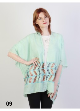 Abstract Embroidery Kimono /Green