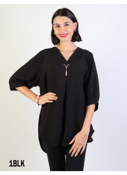 Fashion Blouse W /V Pin & Buttoned Back/Black