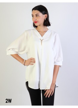 Fashion Blouse W /V Pin & Buttoned Back/White