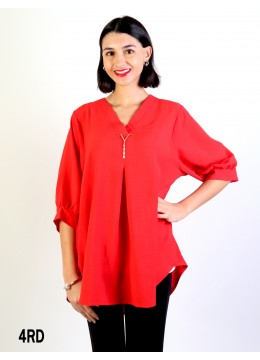 Fashion Blouse W /V Pin & Buttoned Back/Red