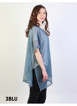 Short Sleeve Fashion Top - Blue