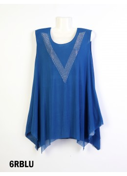 "Rhinestone ""V"" Print Chiffon Tops/Royal Blue"