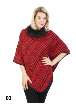 Plaid & Abstract Poncho W/ Fur Collar