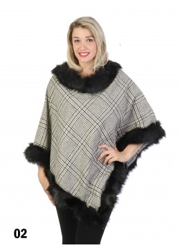 Plaid Poncho W/ Fur Collar & Trim /Grey