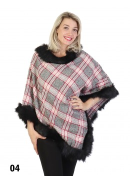 Plaid Poncho W/ Fur Collar & Trim /Red